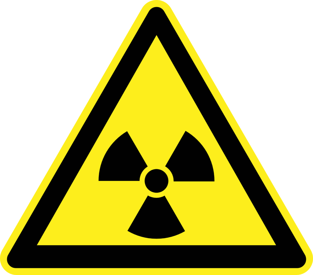 Yellow and black radioactive symbol