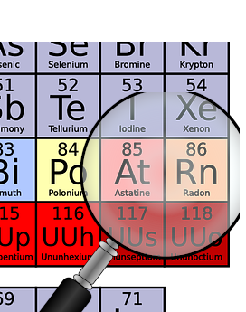 Magnifying glass highlighting Radon on the periodic table.