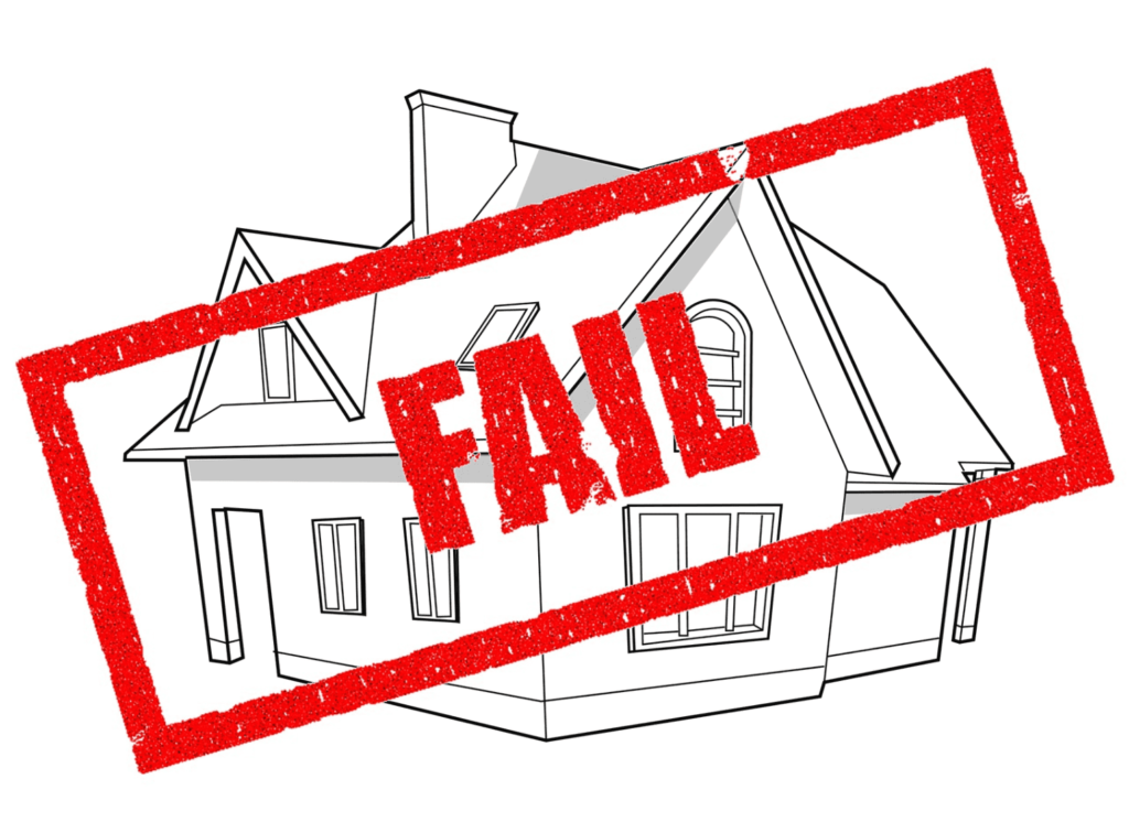 Black and white line drawing of a house with fail stamped in red
