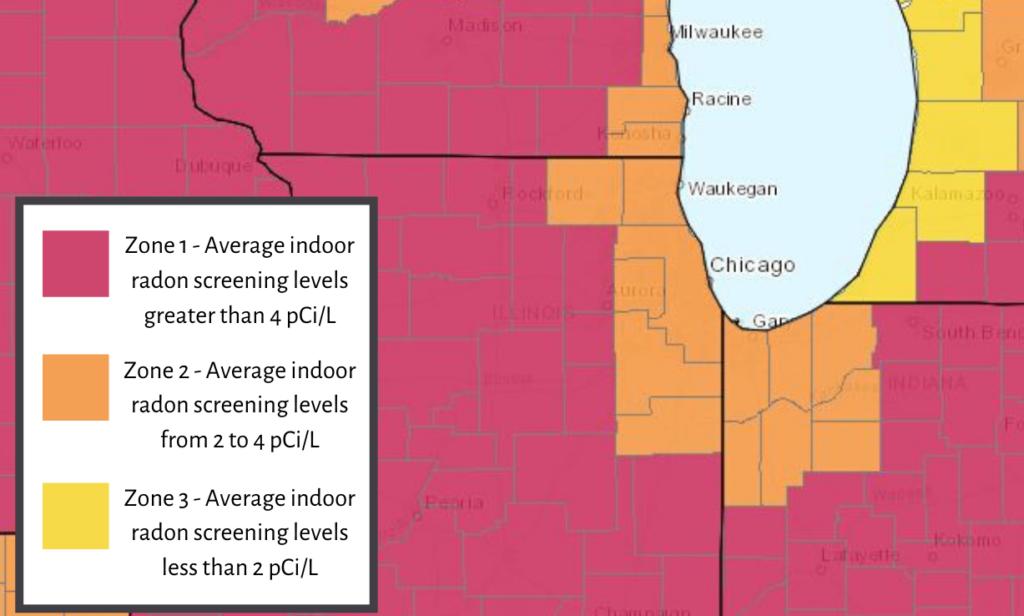 Radon map for northern Illinois