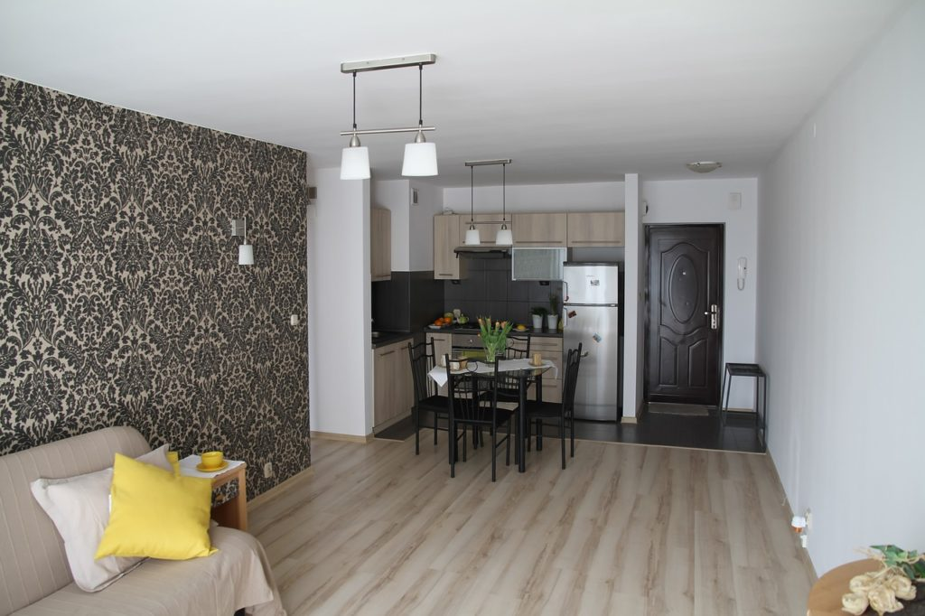 Living room and kitchen of a rental apartment