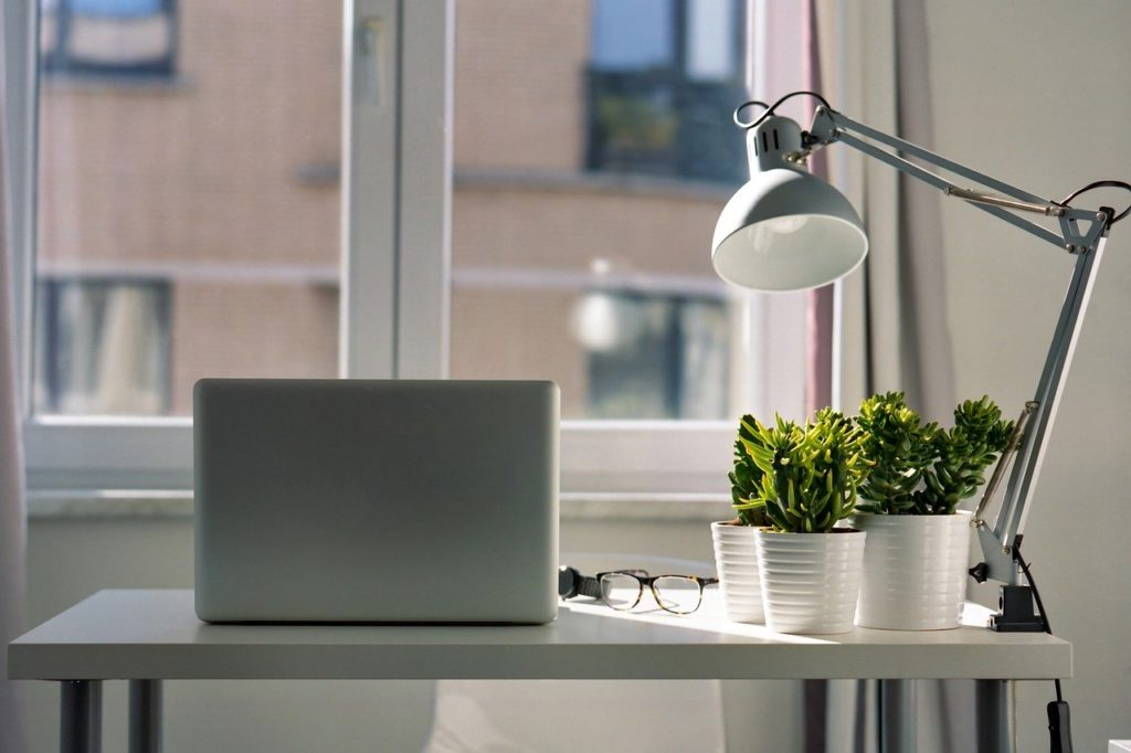 Sunlight coming through windows in a bright home office with computer, plants and lamp.